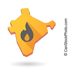 India map icon with a flame