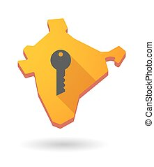 India map icon with a key