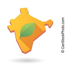 India map icon with a leaf