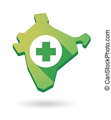 India map icon with a pharmacy sign