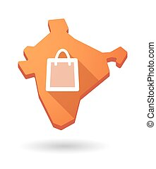 India map icon with a shopping bag