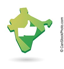 India map icon with a thumb up sign