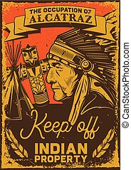 illustration of an indian man, totem and wigwam
