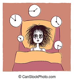 Illustration of an insomniac woman trying to sleep