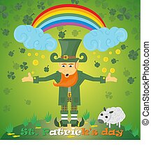illustration of an Irish leprechaun gnome with a rainbow with clover and coins for St. Patricks day, painted in flat style
