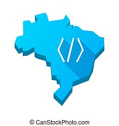 Illustration of an isolated Brazil map with a code sign