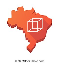Illustration of an isolated Brazil map with a cube sign