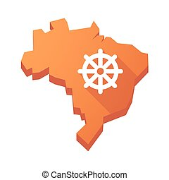 Illustration of an isolated Brazil map with a dharma chakra sign