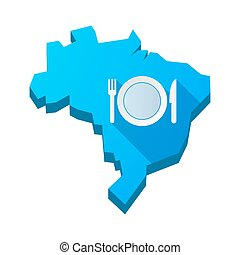 Illustration of an isolated Brazil map with  a dish, knife and a fork icon