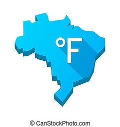 Illustration of an isolated Brazil map with a farenheith degrees sign