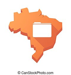 Illustration of an isolated Brazil map with a folder