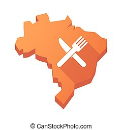 Illustration of an isolated Brazil map with a knife and a fork