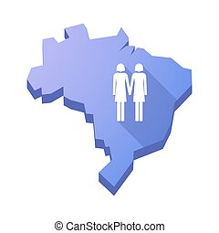 Illustration of an isolated Brazil map with a lesbian couple pictogram