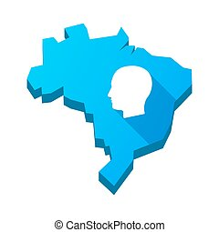 Illustration of an isolated Brazil map with a male head