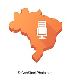 Illustration of an isolated Brazil map with a microphone sign