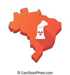 Illustration of an isolated Brazil map with a nuclear power station