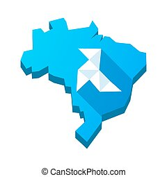 Illustration of an isolated Brazil map with  a paper bird