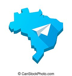 Illustration of an isolated Brazil map with a paper plane