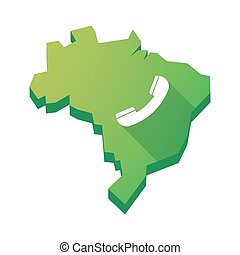 Illustration of an isolated Brazil map with a phone