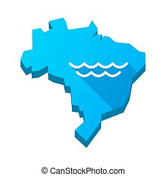 Illustration of an isolated Brazil map with a water sign