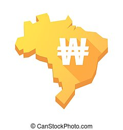 Illustration of an isolated Brazil map with a won currency sign