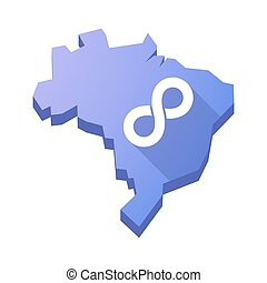 Illustration of an isolated Brazil map with an infinite sign