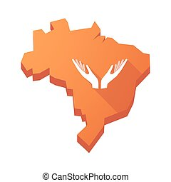 Illustration of an isolated Brazil map with two hands offering