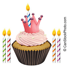 cupcake and candles - Illustration of an isolated cupcake...
