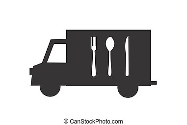 Illustration of an isolated delivery truck icon with cutlery