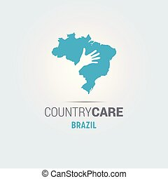 Illustration of an isolated hands offering sign with the map of Brazil