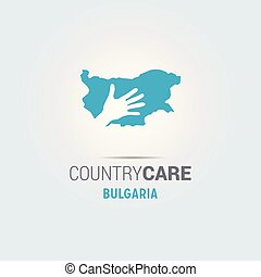 Illustration of an isolated hands offering sign with the map of Bulgaria