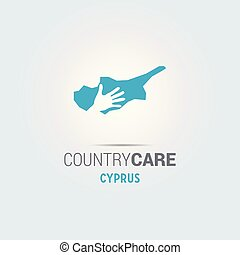 Illustration of an isolated hands offering sign with the map of Cyprus