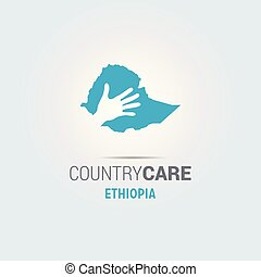 Illustration of an isolated hands offering sign with the map of Ethiopia