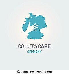 Illustration of an isolated hands offering sign with the map of Germany