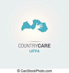 Illustration of an isolated hands offering sign with the map of Latvia