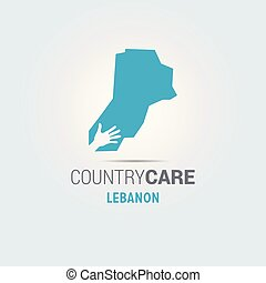 Illustration of an isolated hands offering sign with the map of Lebanon
