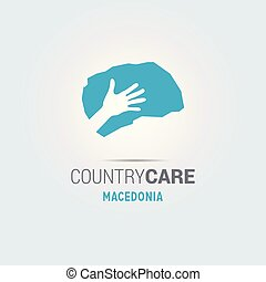 Illustration of an isolated hands offering sign with the map of Macedonia