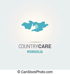 Illustration of an isolated hands offering sign with the map of Mongolia