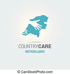 Illustration of an isolated hands offering sign with the map of Netherlands