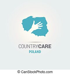 Illustration of an isolated hands offering sign with the map of Poland