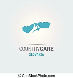 Illustration of an isolated hands offering sign with the map of Slovakia