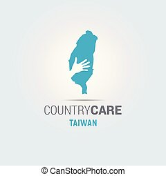 Illustration of an isolated hands offering sign with the map of Taiwan