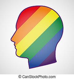 head with a gay pride flag