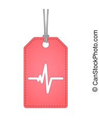 label icon with a heart beat
