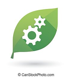 leaf icon with gears