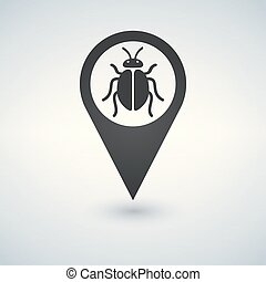 Illustration of an isolated map marker with a bug