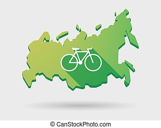 Russia map icon with a bicycle