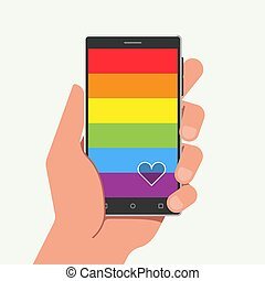 Illustration of an isolated smartphone with a gay pride flag