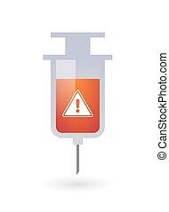 Isolated syringe with a warning signal