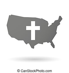 USA map icon with a christian cross